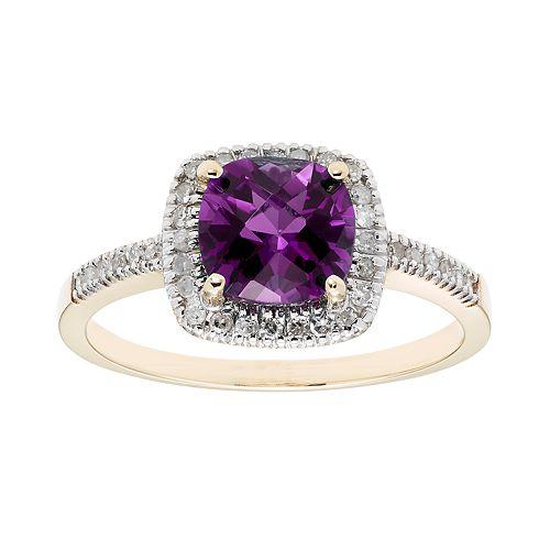 10K Gold & 1/5 Carat T.W. Diamond Amethyst Ring