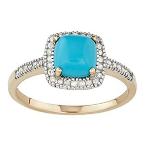 Simulated Turquoise 10K Gold & 1/5 Carat T.W. Diamond Frame Ring