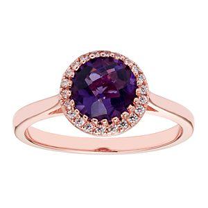 10K Gold & 1/10 Carat T.W. Diamond Amethyst Ring