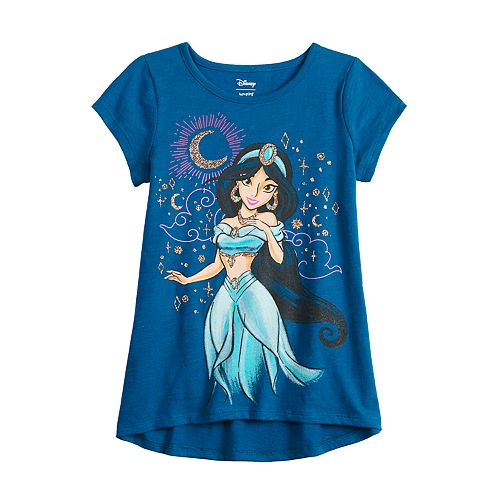 Disney's Aladdin Girls 4-12 Glittery Jasmine Graphic Short Sleeve Tee by Jumping Beans®