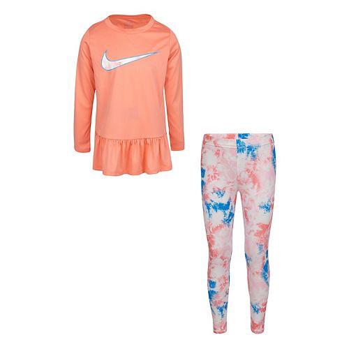 Girls 4-6x Nike 2-Piece Dri-FIT Peplum Top and Leggings Set