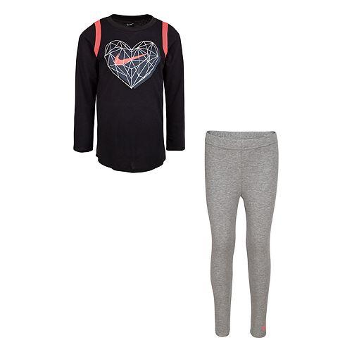 Girls Nike 4-6x 2-Piece Long Sleeve Heart Tunic Top and Leggings Set