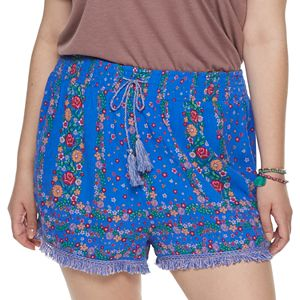 Juniors' Plus Size Mudd Smocked Waistband Shorts