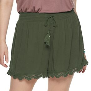Juniors' Plus Size Mudd® Smocked Waistband Shorts