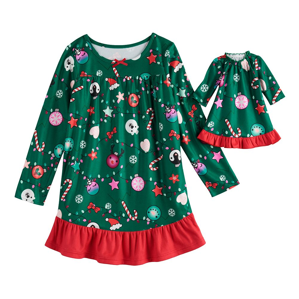 Girls 4-18 & Plus Size SO® Holiday Ruffle Yoke Dorm with Doll Gown