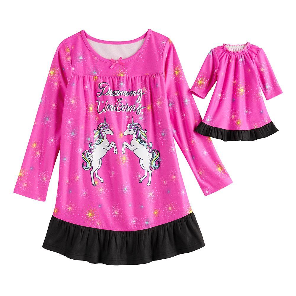 Girls 4-18 & Plus Size SO® Ruffle Yoke Dorm with Doll Gown
