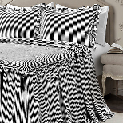 Lush Decor Ticking Stripe Ruffled Bedspread Set