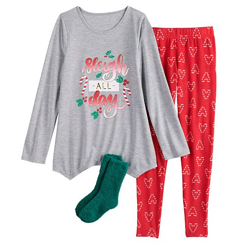 Girls 4-18 SO® Holiday Top, Leggings & Socks Pajama Set