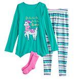 Girls 4-18 SO® Holiday Top, Leggings & Socks Pajama Set