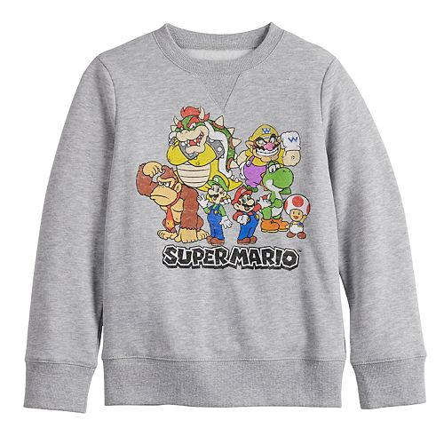 Boys 4-12 Jumping Beans® Long-Sleeve Crew Softest Mario Brothers Fleece