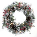 St. Nicholas Square Snowflocked Pinecone Wreath