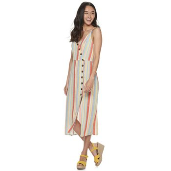 Juniors' Speechless Striped Strappy Mid-Length Dress