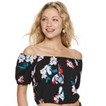Juniors' Candie's® Off-the-Shoulder Peasant Top