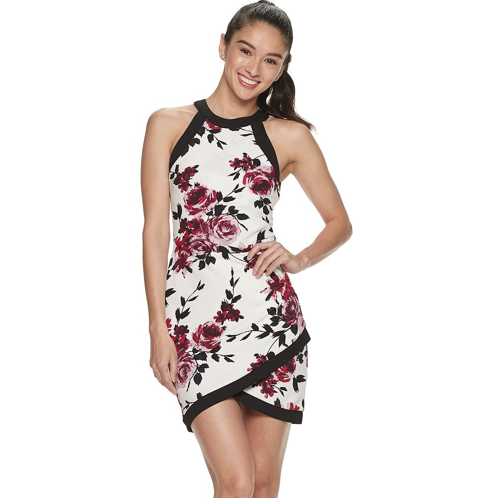Juniors Speechless High Neck Floral Fitted Wrap Dress