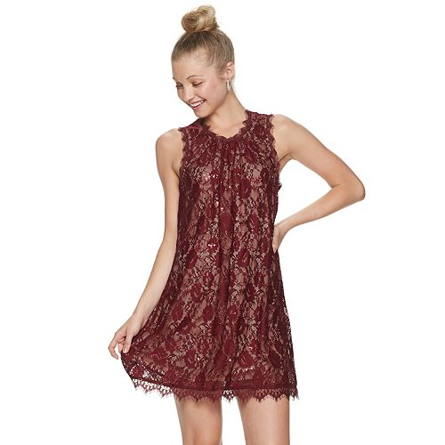 Juniors' Speechless All Over Lace Shift Dress