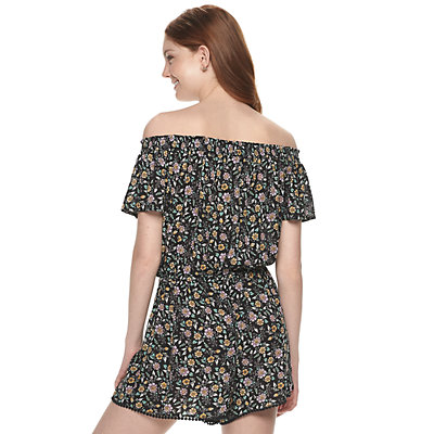 Juniors' Rewind Off-The-Shoulder Romper