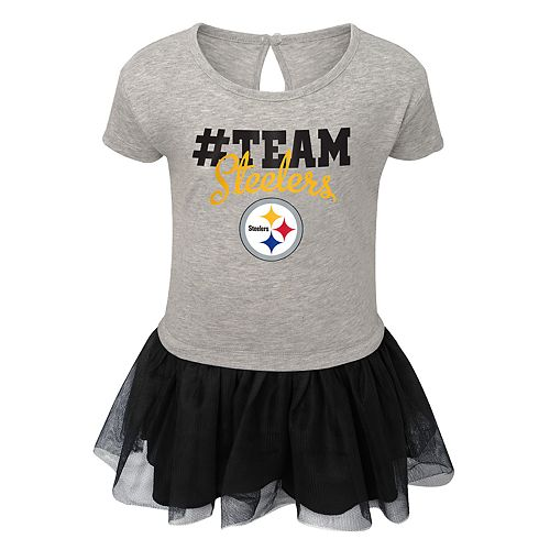 size 40 98f1a cfdc6 Girls NFL Pittsburgh Steelers Short Sleeve Dress