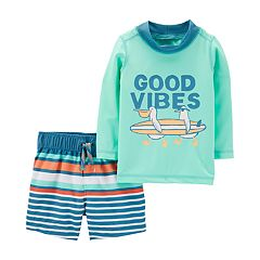 868464e55 Baby Boy Carter's 2 Piece 'Good Vibes' Beach Rash Guard Top & Striped Shorts