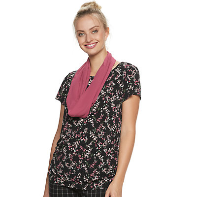 Women's ELLE Scarf & Ruched-Side Top