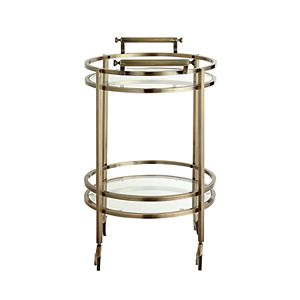 Powell Antique Brass Finish Round Serving Cart