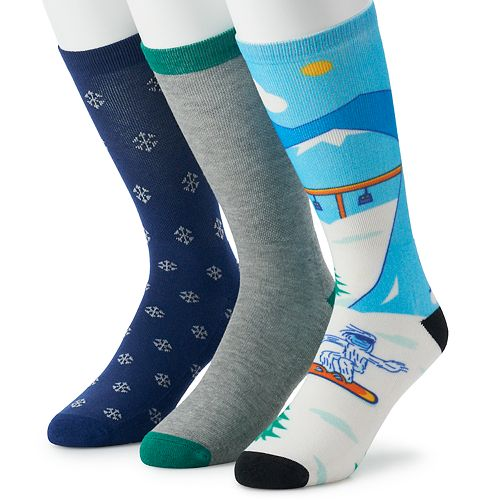 Men's St. Nicholas Square® 3-pack Holiday Crew Socks