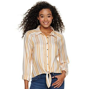 Juniors' Love, Fire Long Sleeve Knotted Front Button Down Shirt