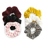 SO® Houndstooth & Plaid Scrunchie Set
