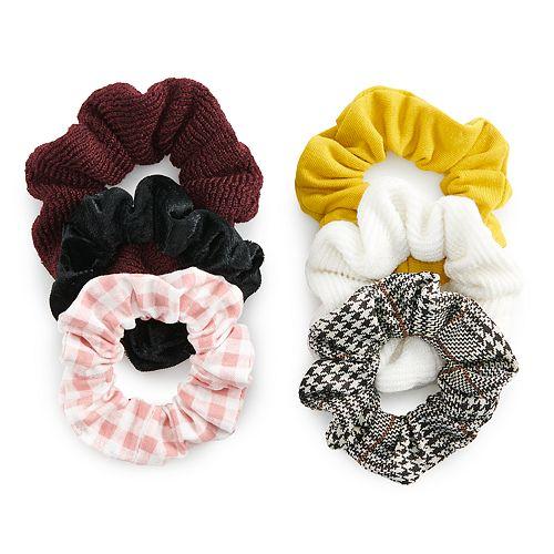SO® Houndstooth & Plaid Scrunchie Set