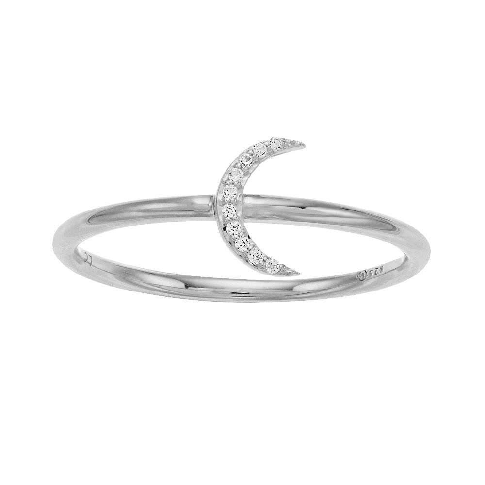 LC Lauren Conrad Sterling Silver Lab-Created White Sapphire Crescent Moon Ring
