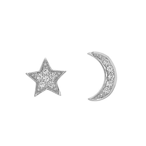 LC Lauren Conrad Sterling Silver Lab-Created White Sapphire Moon & Star Mismatch Stud Earrings