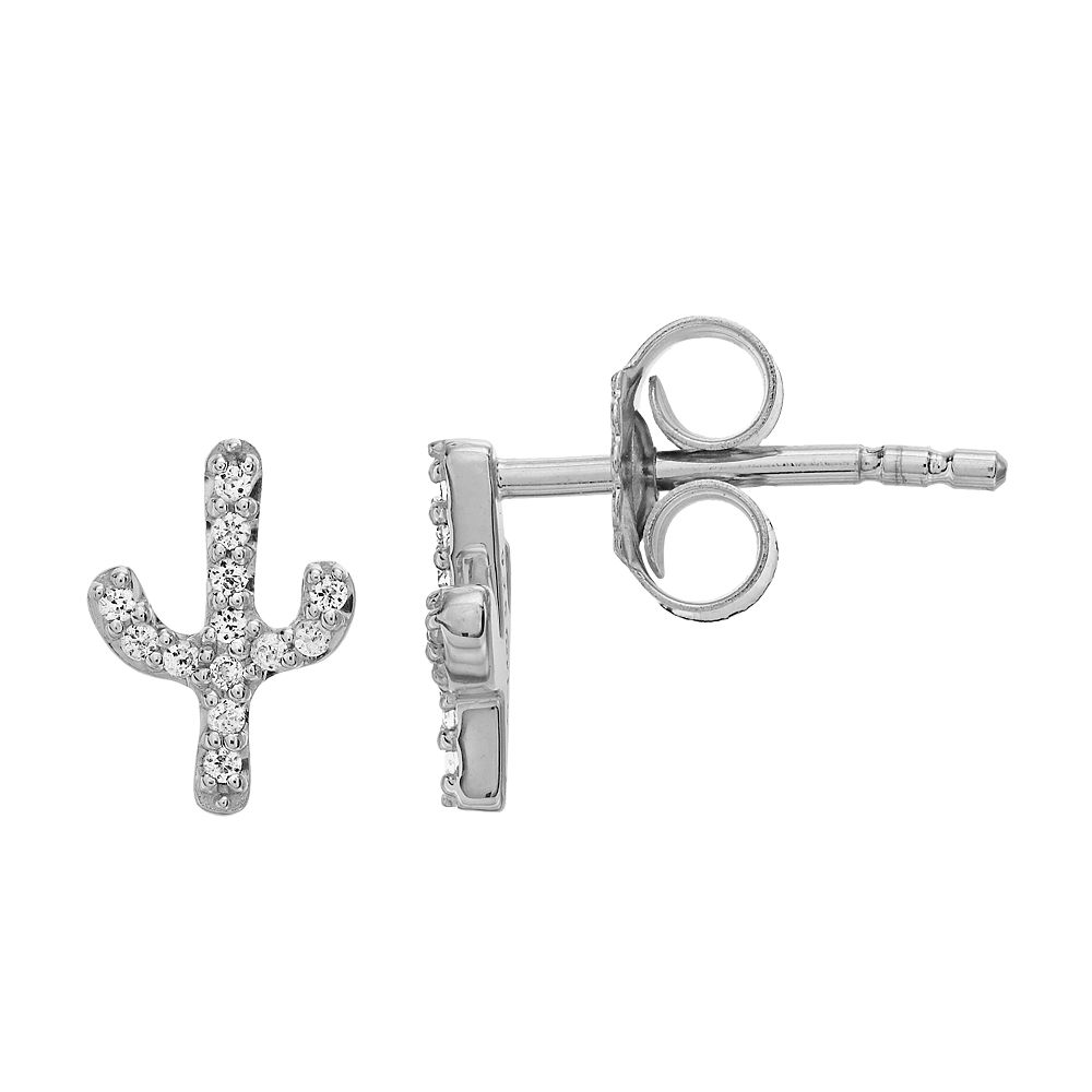 LC Lauren Conrad Sterling Silver Lab-Created White Sapphire Cactus Stud Earrings