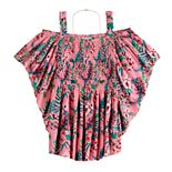 Girls 7-16 Self Esteem Cold-Shoulder Smocked Pleated Top