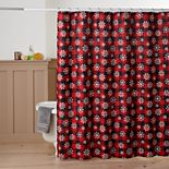 St. Nicholas Square® Buffalo Check Snowflakes Shower Curtain