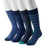 Big & Tall Croft & Barrow® 4-pack Opticool Striped Crew Socks