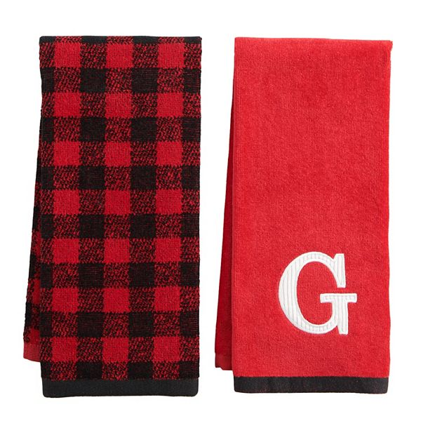 St Nicholas Square Monogram Buffalo Check Hand Towel