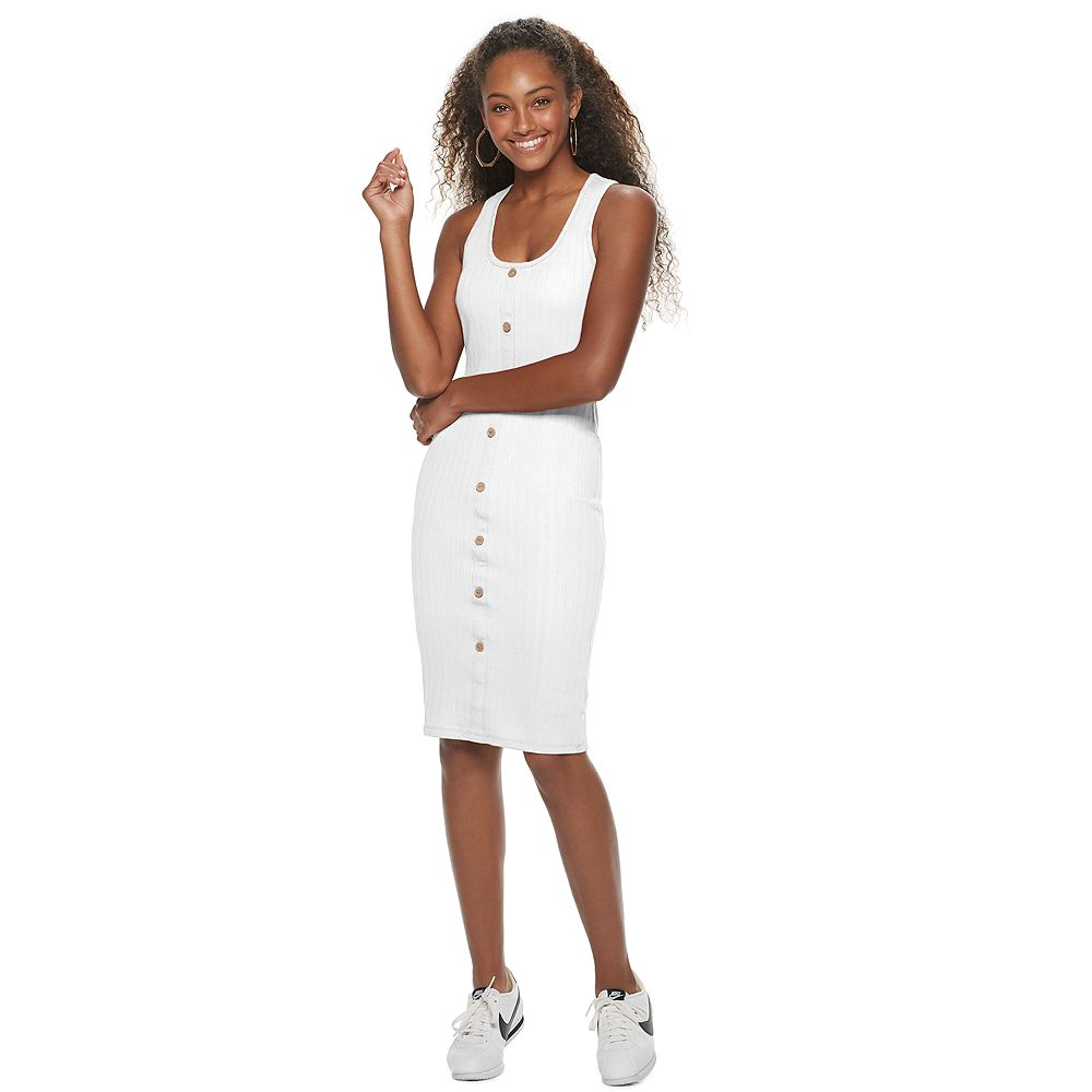 Junior's Almost Famous Sleeveless Button-Front Bodycon Dress