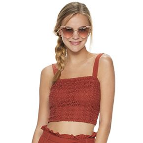 Juniors' Live To Be Spoiled Smocked Crochet Tank
