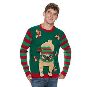 Men's Santa's Helper Pug 3D Ugly Christmas Sweater