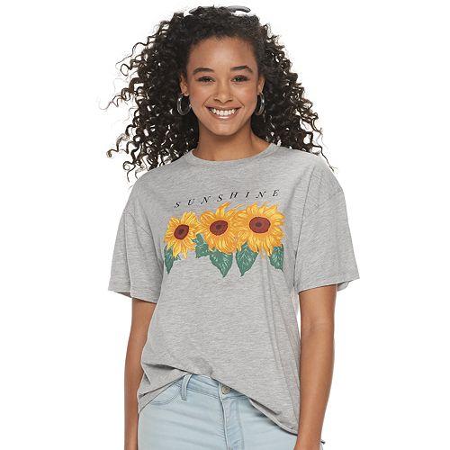 """Juniors' """"Sunshine"""" Sunflowers Graphic Tee"""