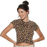 Juniors' Leopard Print Baby Tee
