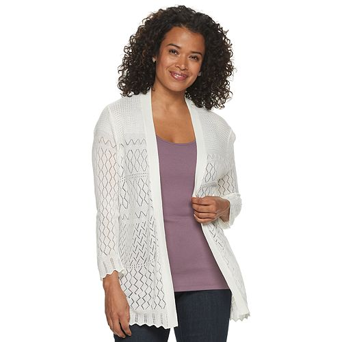 Women's Croft & Barrow™ Pointelle Open-Front Cardigan