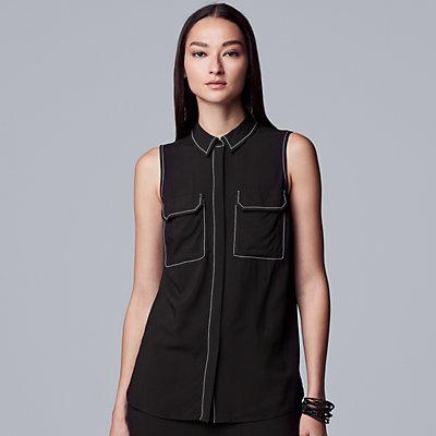 Women's Simply Vera Vera Wang Contrast Stitch Sleeveless Shirt