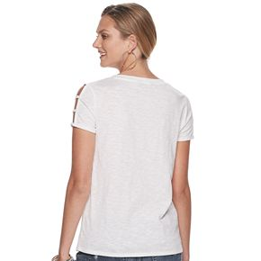 """Women's Rock & Republic """"On The Road Again"""" Cage Sleeve Graphic Tee"""