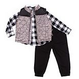 Toddler Boy Little Lad 3-Piece Puffer Vest Set