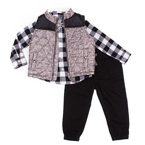 Toddler Boy Little Lad 3-Piece Puffer Vest Set
