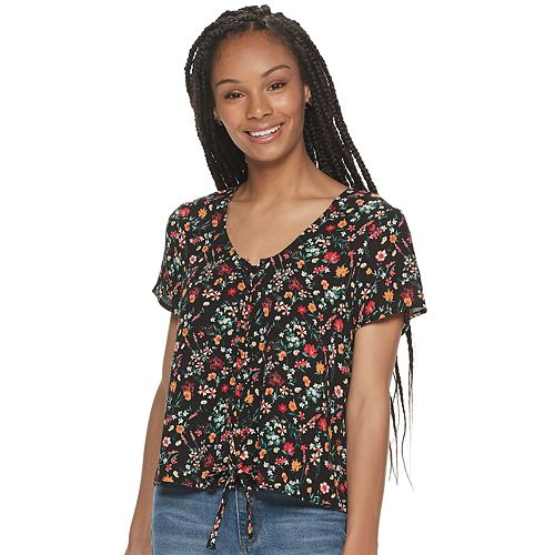Juniors' Pink Republic Short Flutter Sleeve Lace Up Front Top by Pink Republic