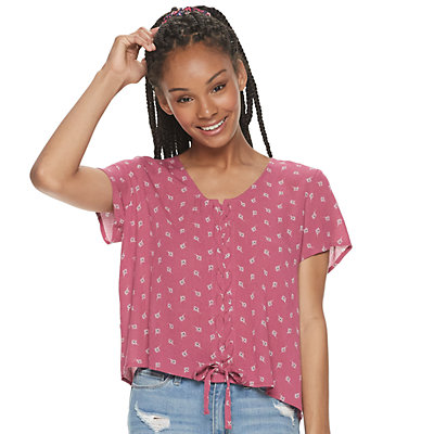 Juniors' Pink Republic Short Flutter Sleeve Lace-Up Front Top