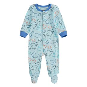 Baby Boy Hurley Newborn-9M Blue Shark Print Footed Coverall