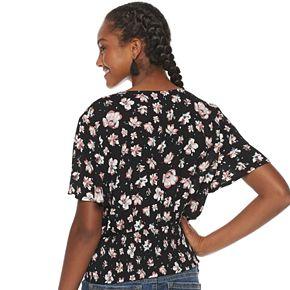 Juniors' American Rag Flutter Sleeve Smocked Top