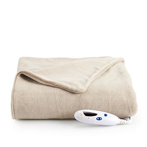 Biddeford Electric Heated Velour With Sherpa Throw